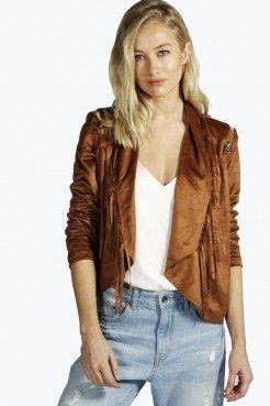 Emma Fringed Suedette Jacket With Zips - Coats & Jackets - Clothing