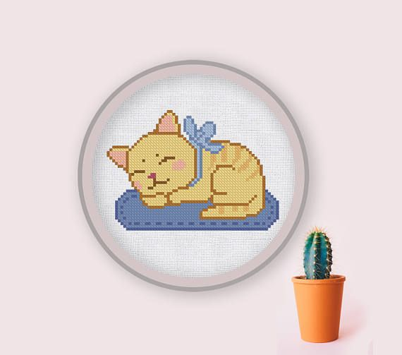 Cross Stitch Pattern Sleepy Kitty Instant Download PDF Counted Chart #sleepykitty