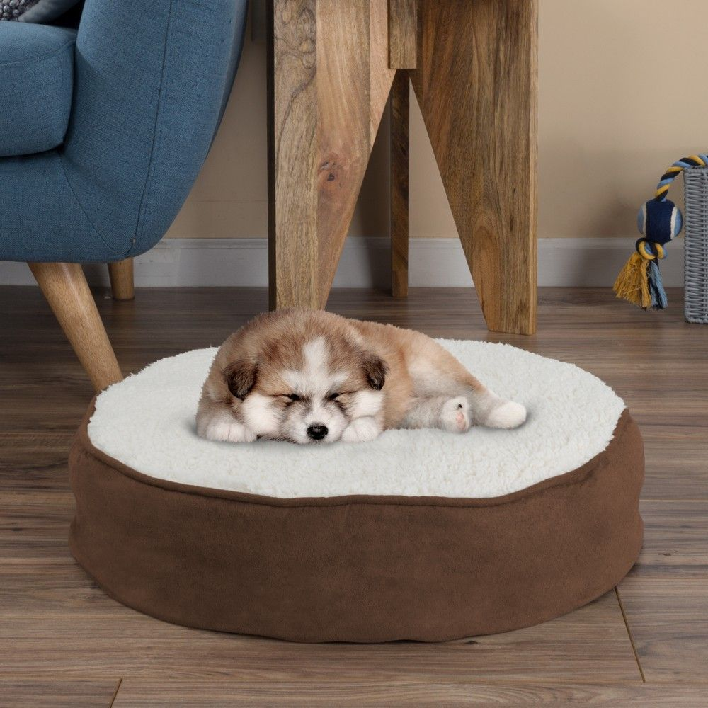 round pet bed memory foam pillow top