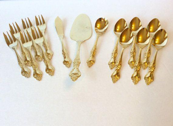 Vintage Royal Sealy Gold Flatware Dessert Set Cake Server Spoons Forks And Spreader Knife Rose Pattern Wedding An Dessert Set Beautiful Flatware Dessert Spoons