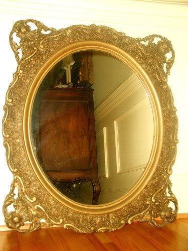 Gilt Victorian Mirror 19th Century Carved Oval 495 On Goantiques