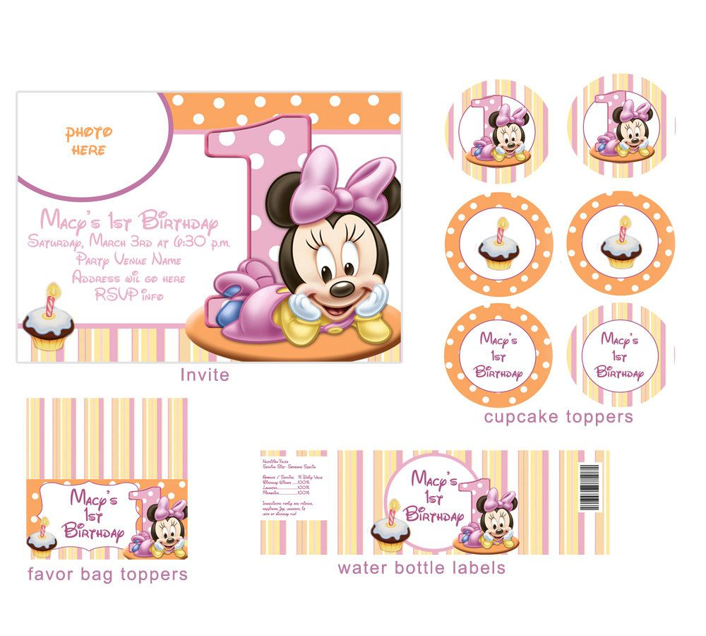Baby Minnie Mouse 1st Birthday Party Package by digitalparties, $18.00