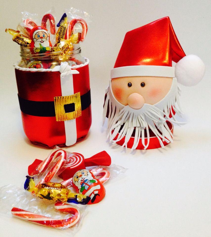 Tarro de cristal reciclado y decorado con fomy foamy goma - Decoracion navidad goma eva ...