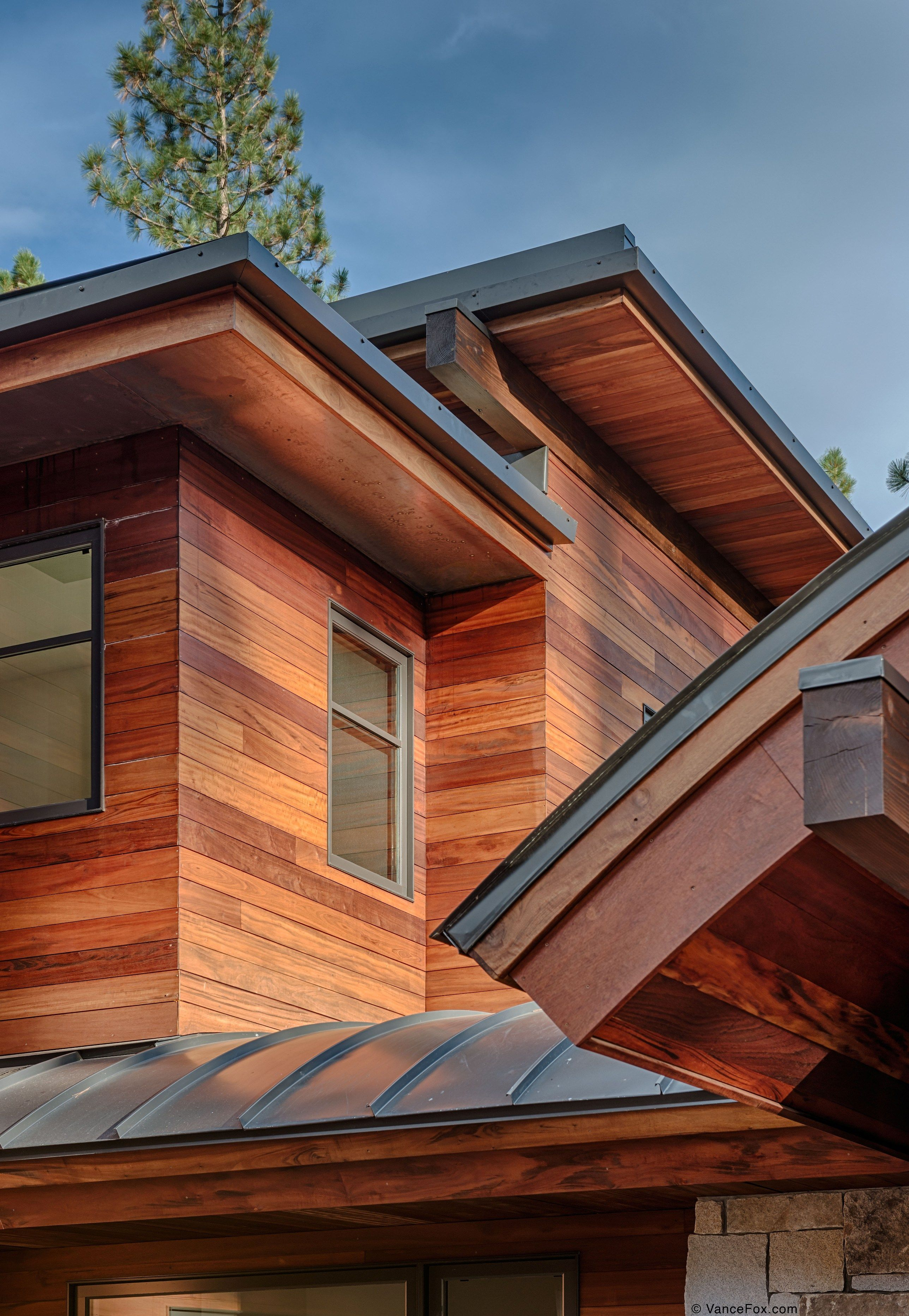 Contemporary Exterior Design Modern Wood Siding Modern House Exterior Elevation: Cabin With Tigerwood Siding In Truckee, CA. Built By NSM Construction.