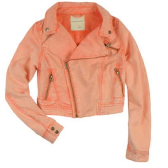 Jean jacket, coral Jean jacket -full zip front- multiple zippered pockets Sound and matter Jackets & Coats Jean Jackets