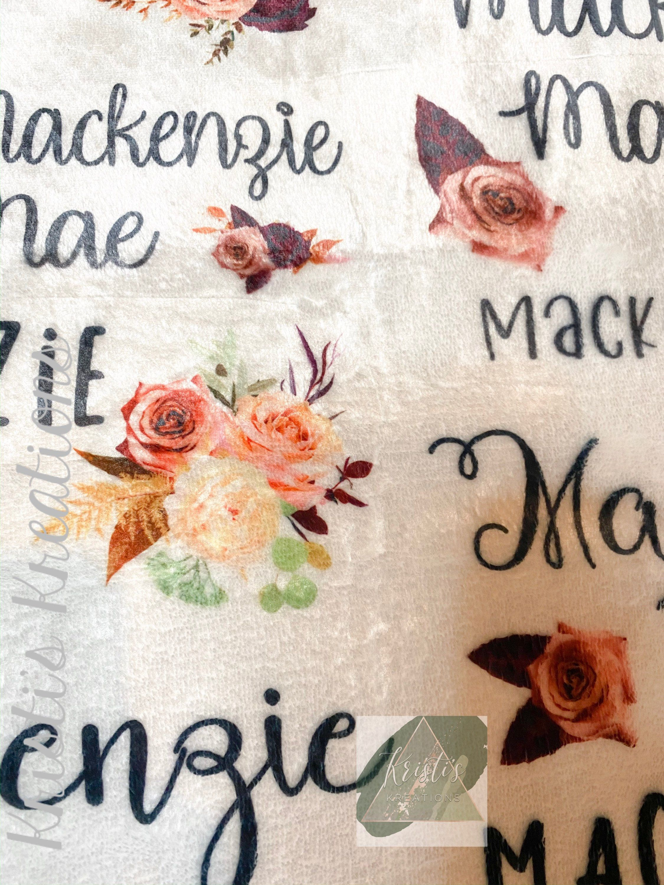 personalized baby girl blanket, custom, plush, floral, flowers, blush, coral, burgundy, plum, baby shower gift, for her