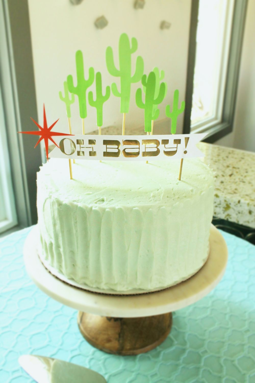 Susie Cakes Cake With Cactus Cake Toppers And Modern Oh