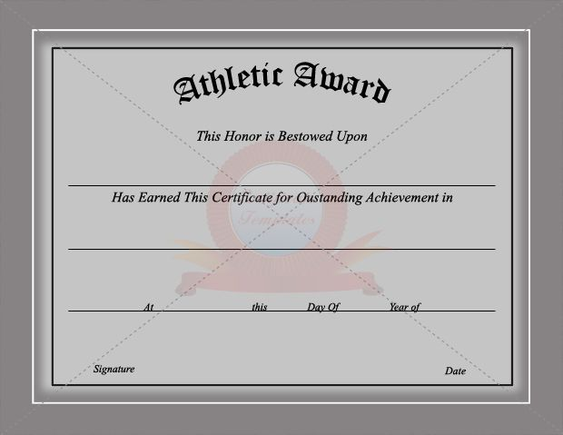 Sports Certificate Template  Sports Certificate Templates