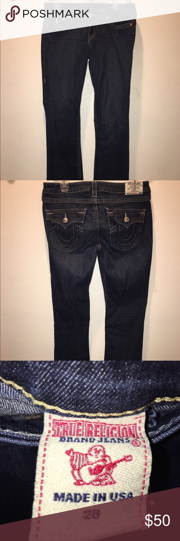 True Religion bootcut jeans Dark wash, gently used. Quite comfortable and stretchy. Very low rise, full length bootcut. True Religion Pants Boot Cut & Flare