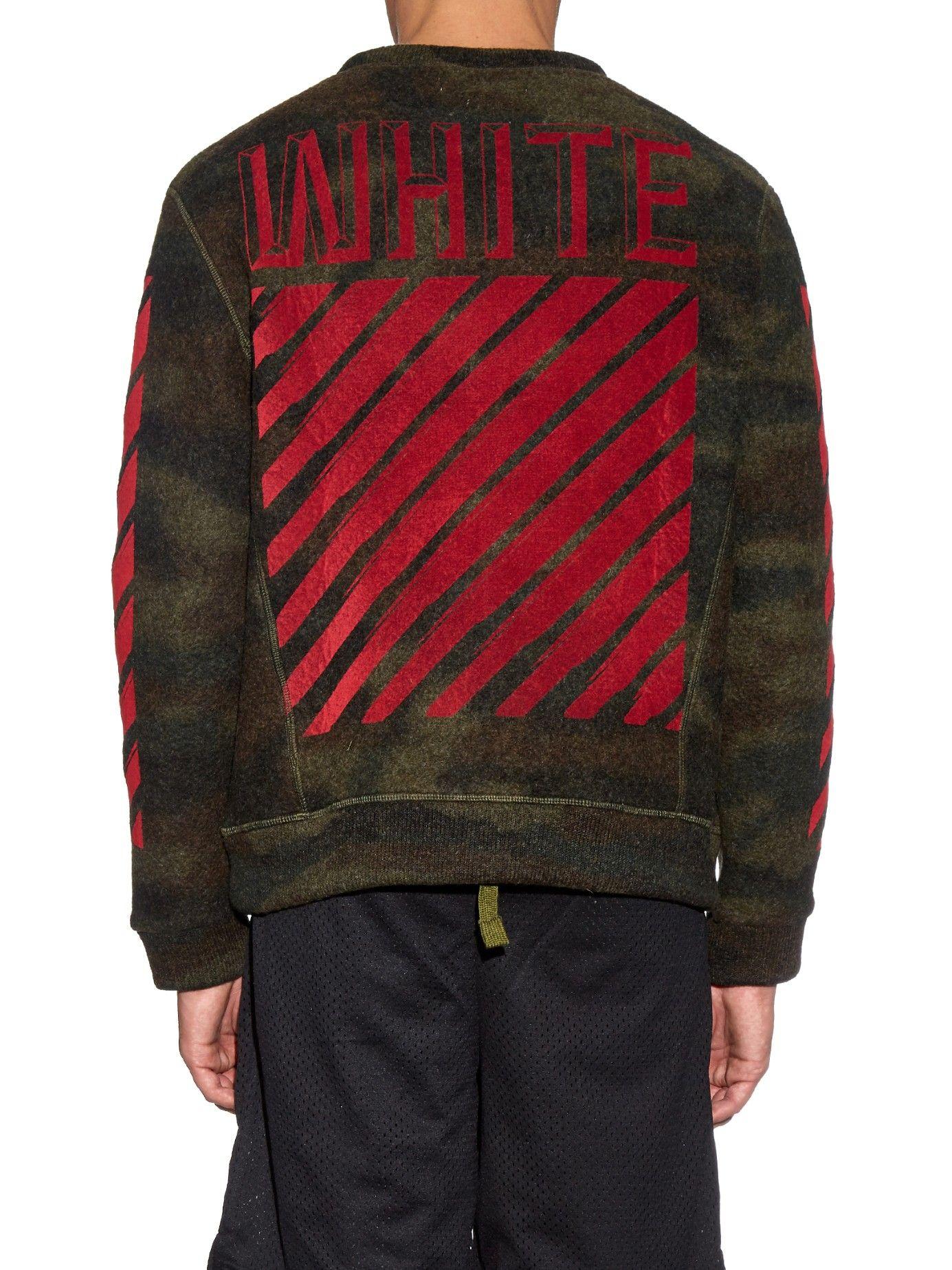 Camouflage Print Felt Sweatshirt Off White Matchesfashion Com Us Camouflage Sweatshirts Off White [ 1846 x 1385 Pixel ]