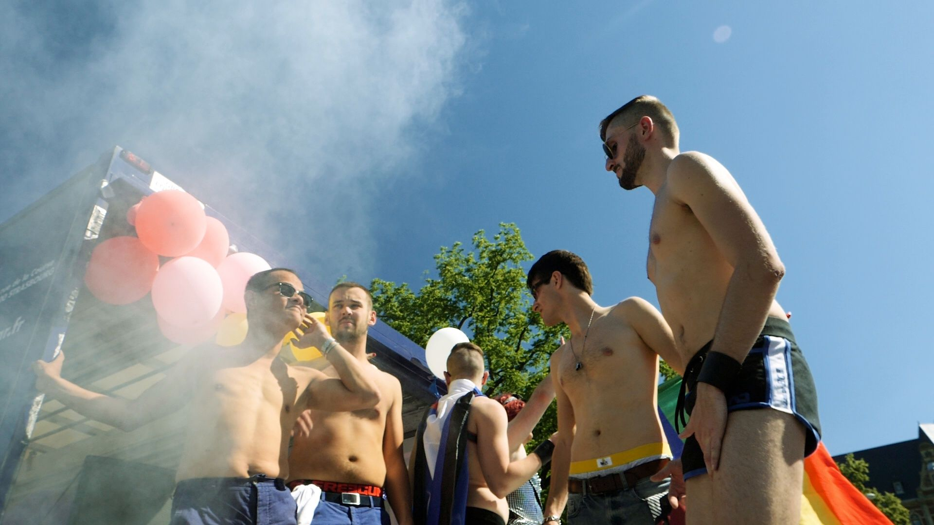 Smoke grenade at Gay pride in slow motion dancing LGBT people Stock  Footage,#pride#slow#Gay#Smoke