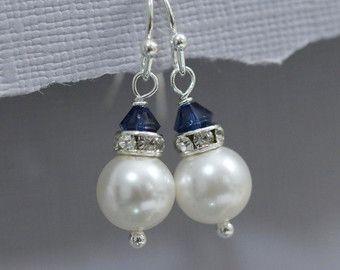 Fuschia Bridesmaid Earrings Swarovski White by alexandreasjewels
