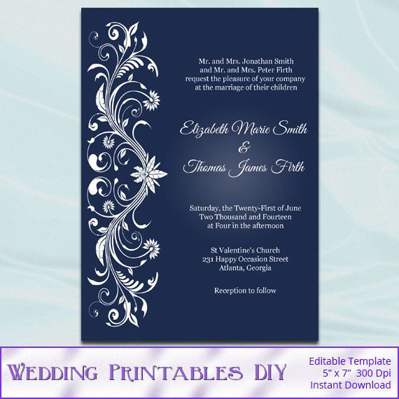 DIY Printable Invitation Templates - Navy Blue and White Ornament