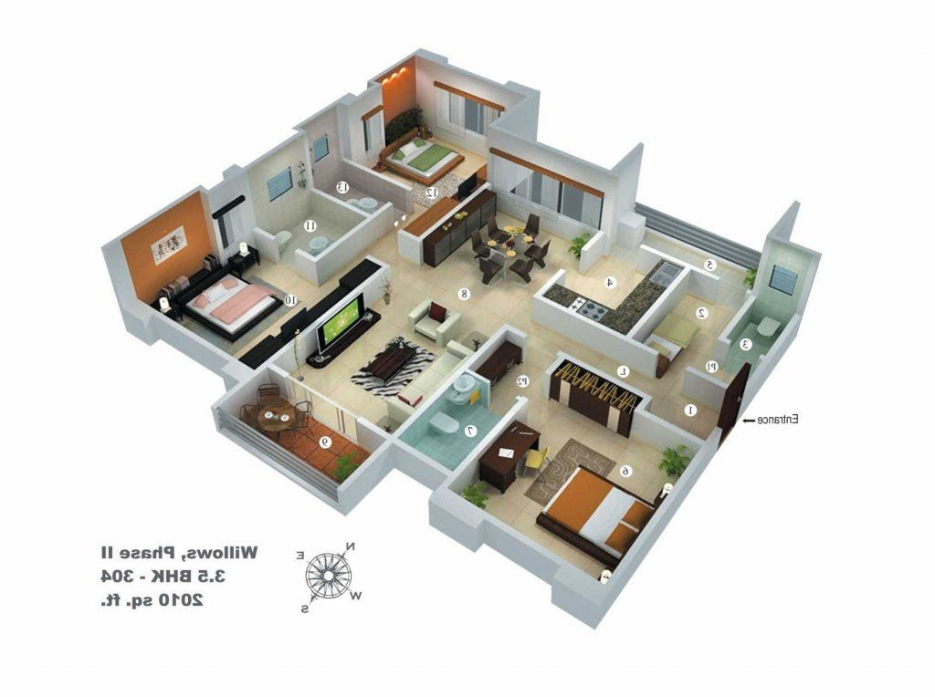 40 Amazing 3 Bedroom 3d Floor Plans Engineering Discoveries House Design Kerala House Design My House Plans
