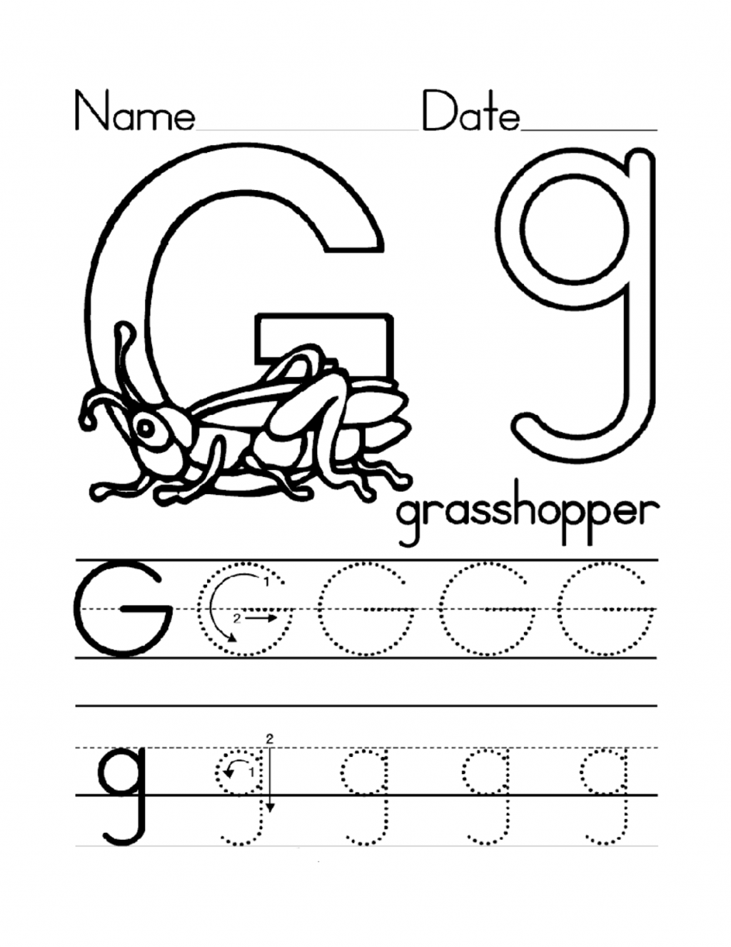Kidzone Letter Worksheets Trace G Activity Shelter S W Alphabet Worksheets Preschool Letter G Worksheets Letter G Activities