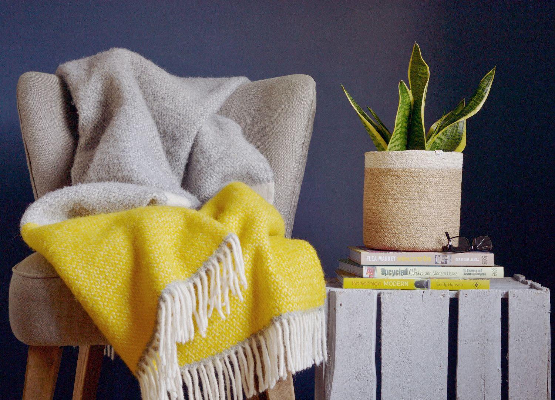 98ed9859e6 Yellow and Grey Semaphore Throw. The British Blanket Company  Yellow and Grey  Wool ...