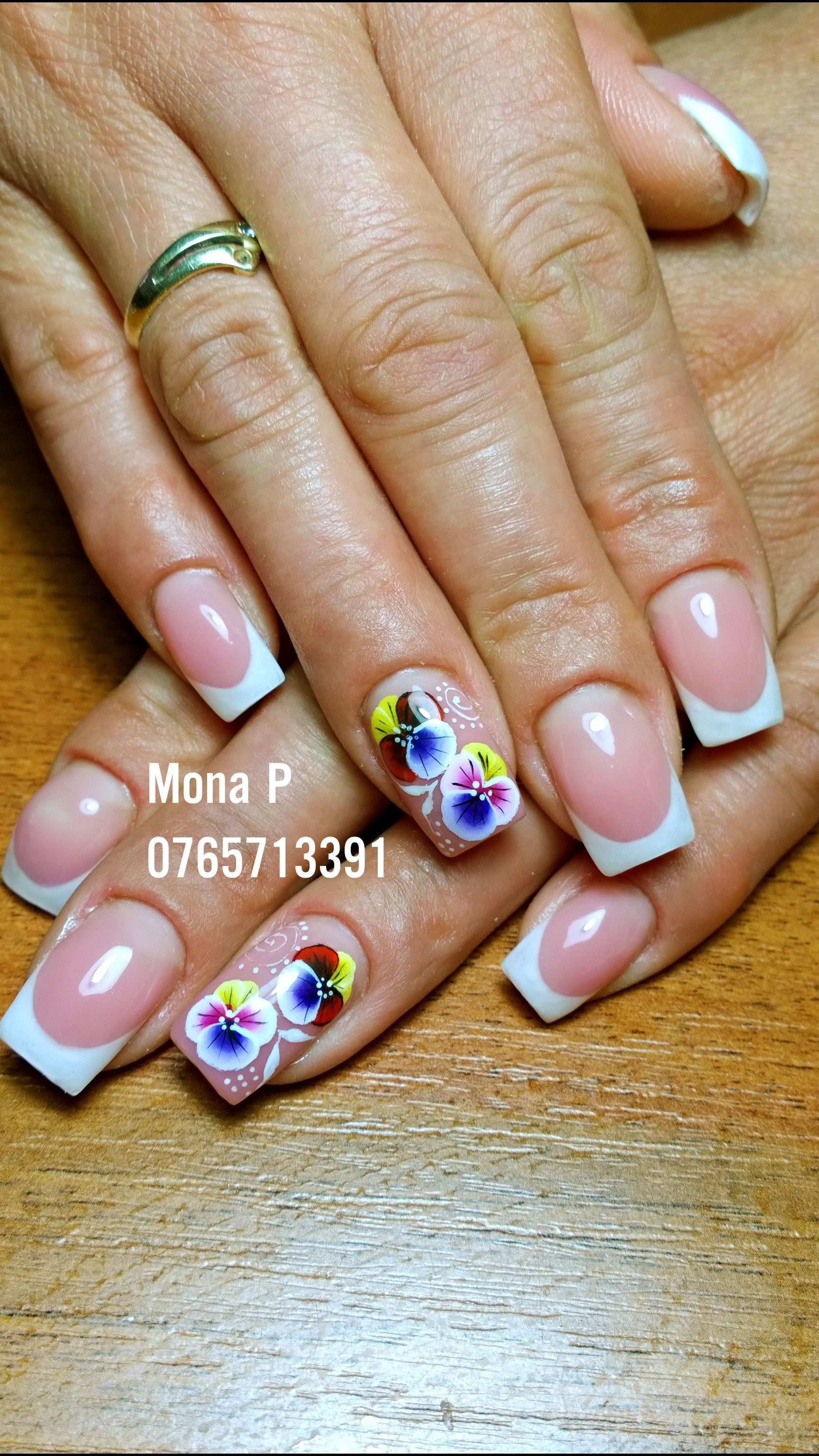 Pansy Flower And French Nail Art French Nail Art French Nails Nails