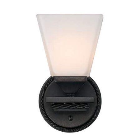 Golden Lighting 4214-BA1-OP Davenport 1 Light Bathroom Sconce - 5 inch Wide, Bronze
