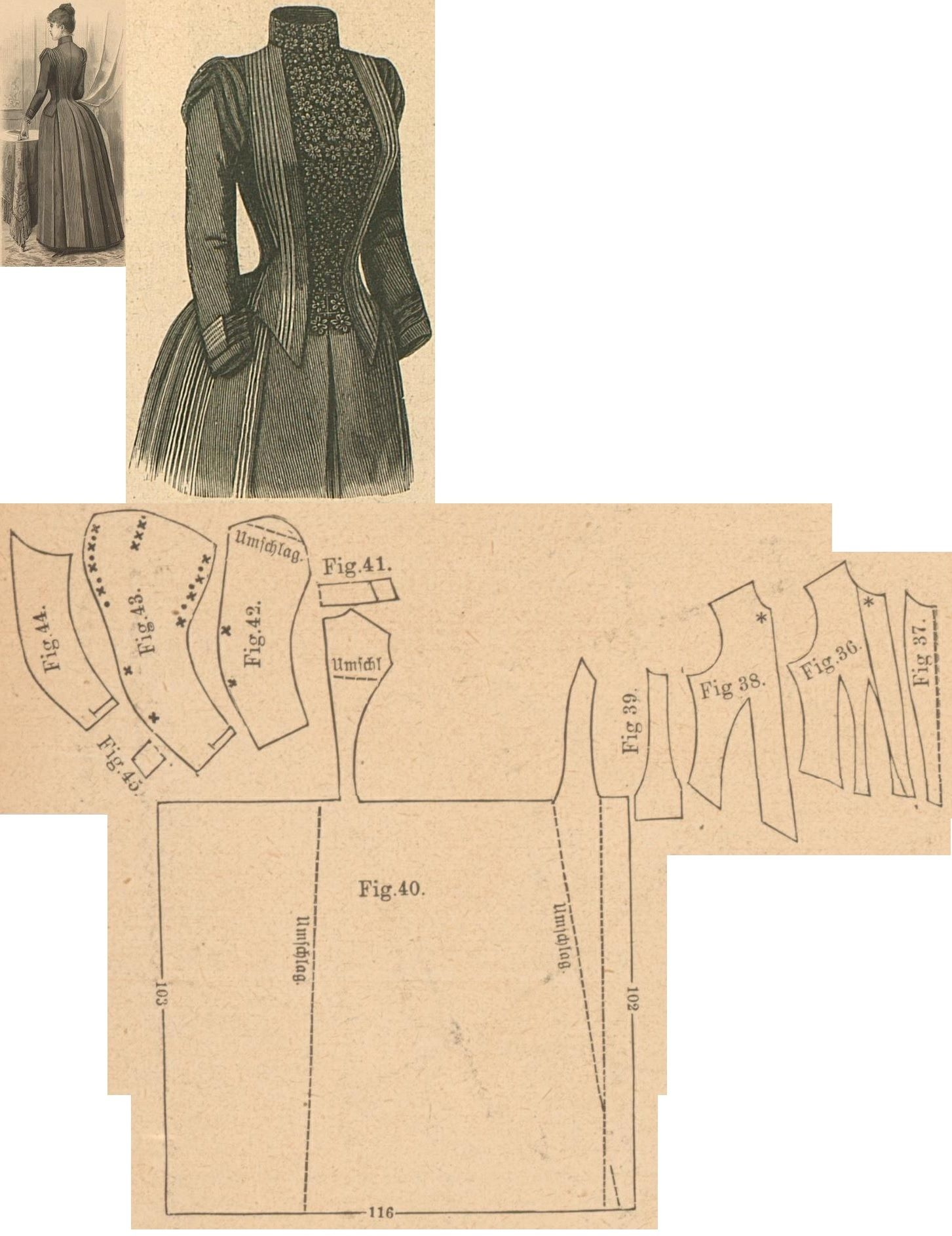 Der Bazar 1888: Slate-grey woollen dress; 36. bodice's lining front part, 37. plastron in half size, 38. overbodice part, 39. side gore, 40. back part in half size, 41. collar in half size, 42. and 43. oversleeve's lining and pouffy outer part, 44. undersleeve part, 45. cuff in half size