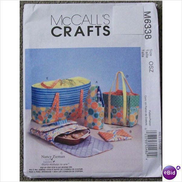 McCalls Crafts Pattern M6338 Carriers Hot Pads Pot Holders Totes Uncut 023795554824 on eBid United States