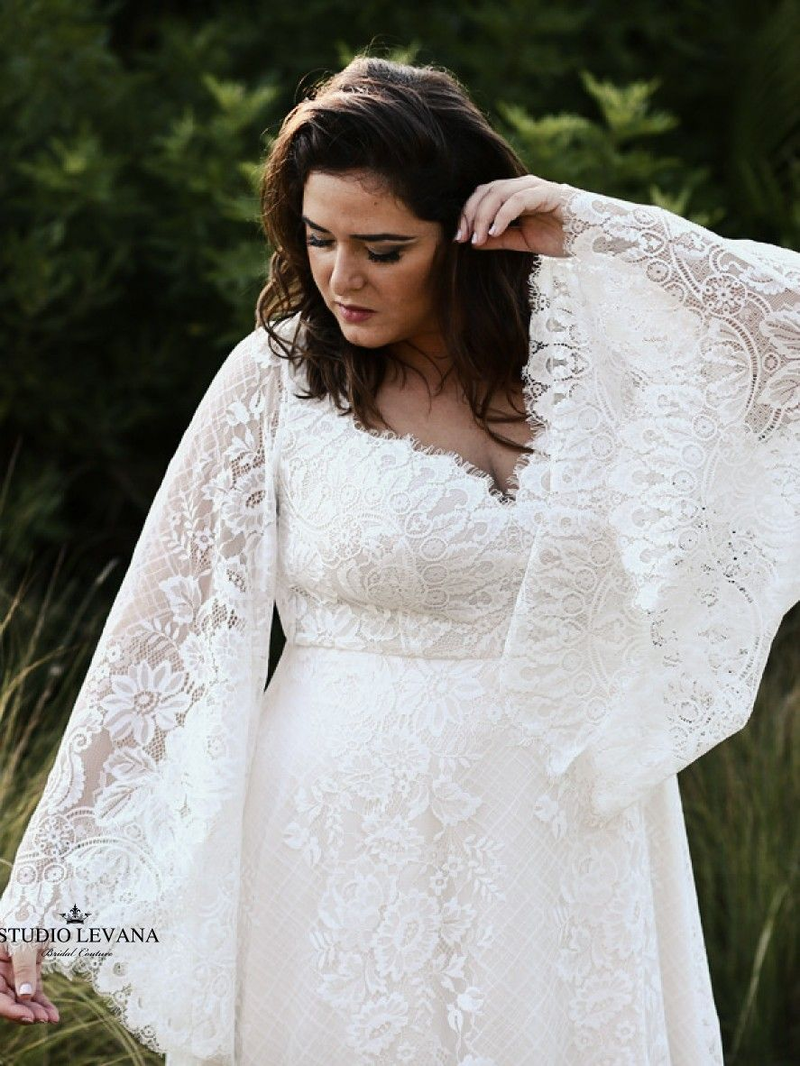 Gorgeous Bohemian Plus Size Wedding Dress With Unique Bell Sleeves And Flowy Lace Skirt Fro Modest Wedding Gowns Bell Sleeve Wedding Dress Casual Wedding Dress [ 1182 x 887 Pixel ]