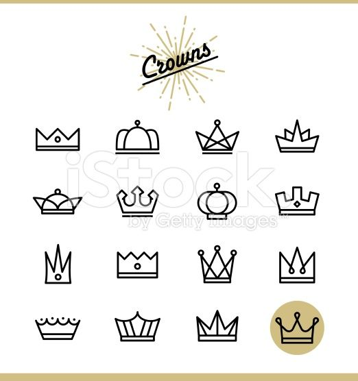 Set Of Line Crown Icons Vector Illustration Crown Illustration Crown Drawing Doodle Drawings