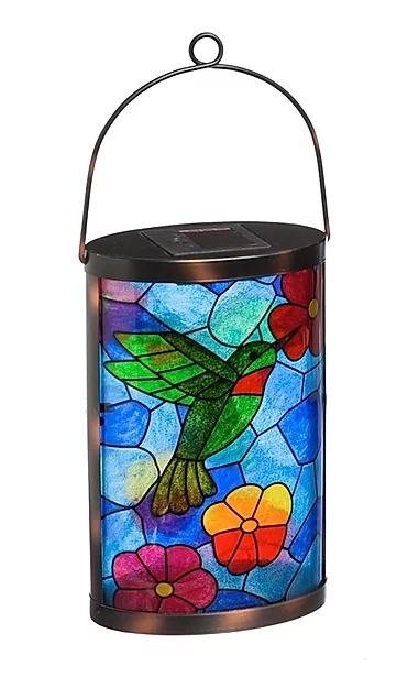 tiffany inspired hummingbird solar lantern visions eden in 2020 lanterns hanging outdoor bright led string lights