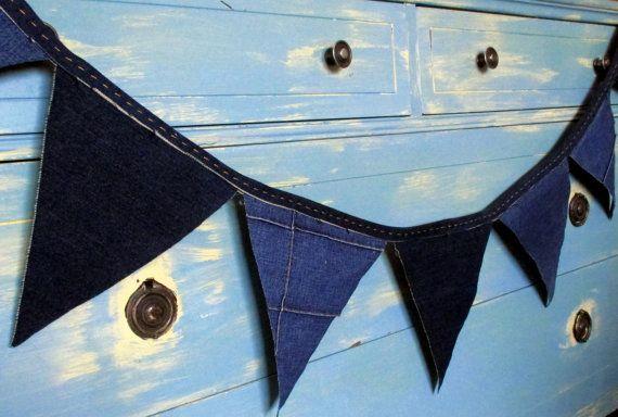 Denim Triangle Bunting by PerryWinkleParties on Etsy