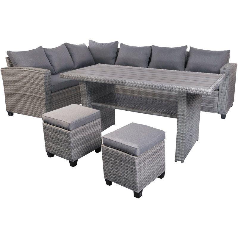 Terassen Lounge Set Leon Grau Mit 2 Stuhlen Mtls01 Mojawo Polyrattan Gartenmobel Mobelideen Gartenmobel