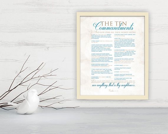 10 Commandments; Framed Scripture Print, Bible Verse Prints, nautical, Exodus 20, word art, Christian, gift, decor, fine art, printed, sign