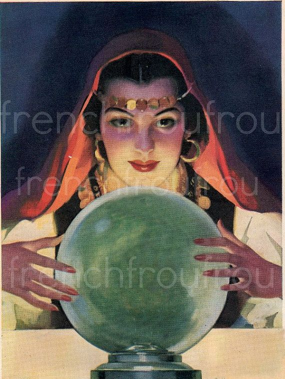 Vintage illustration pinup gypsy fortune teller and ...