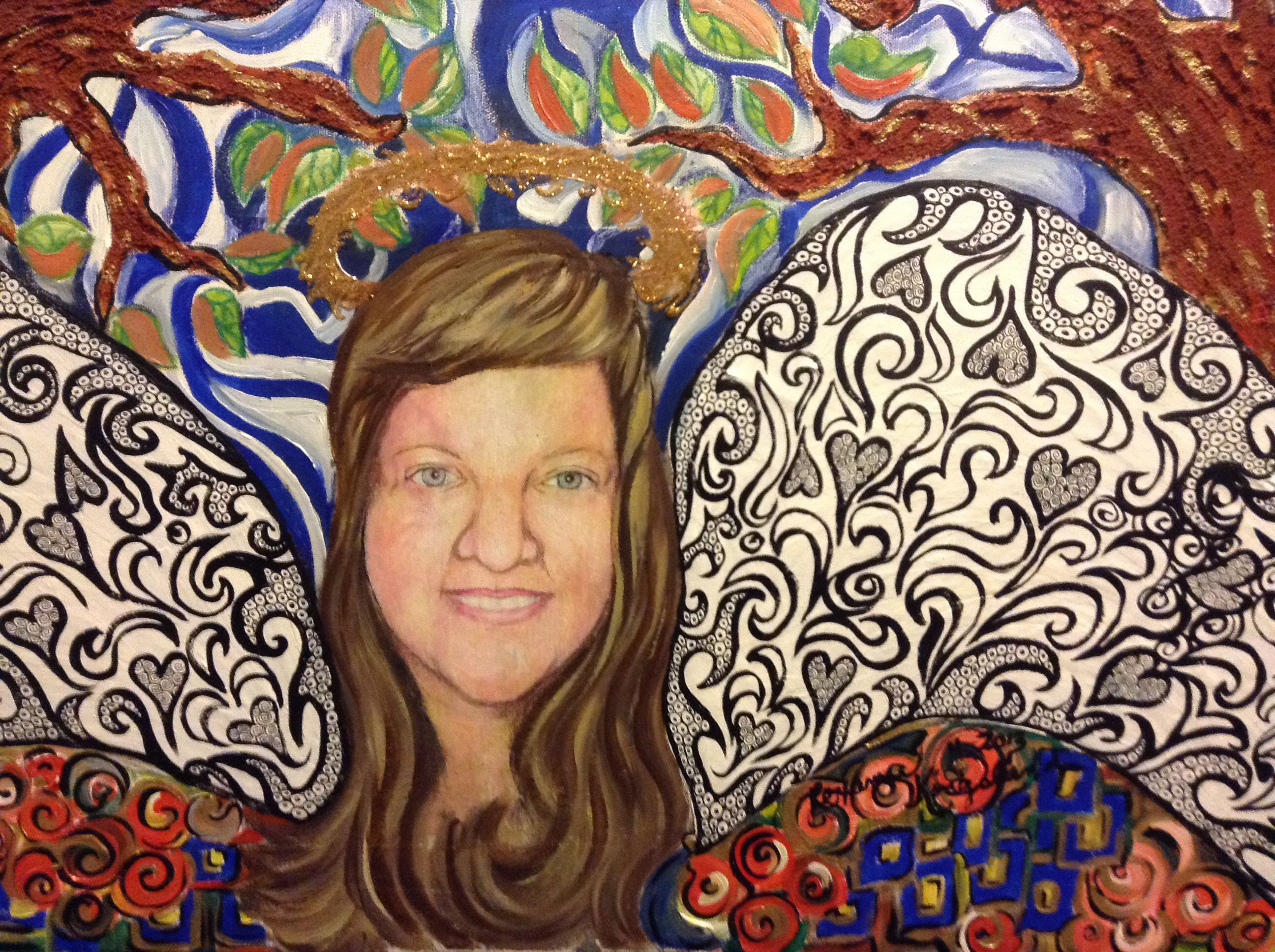 "Mixed media self portrait .  Canvas 16""x20"" acrylics, pen & ink , paper mâché , and t-shirt glitter paint. Fall2013"