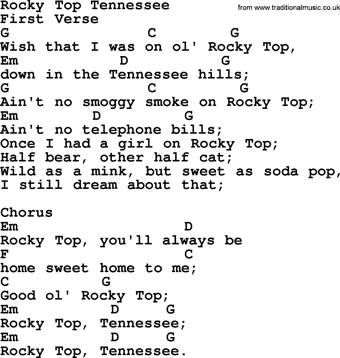 Bluegrass Song: Rocky Top Tennessee, Lyrics And Chords