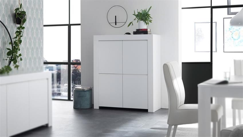 Highboard FIRENZE Schrank Kommode in weiß matt lackiert