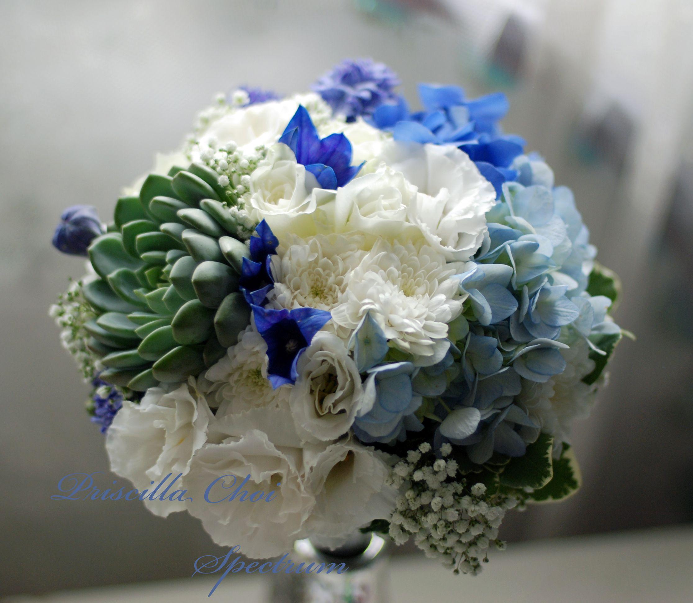 wedding bouquet in blue