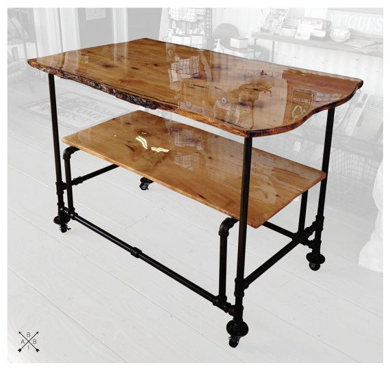 Live Edge Kitchen Cart Pipe Fitting Legs By