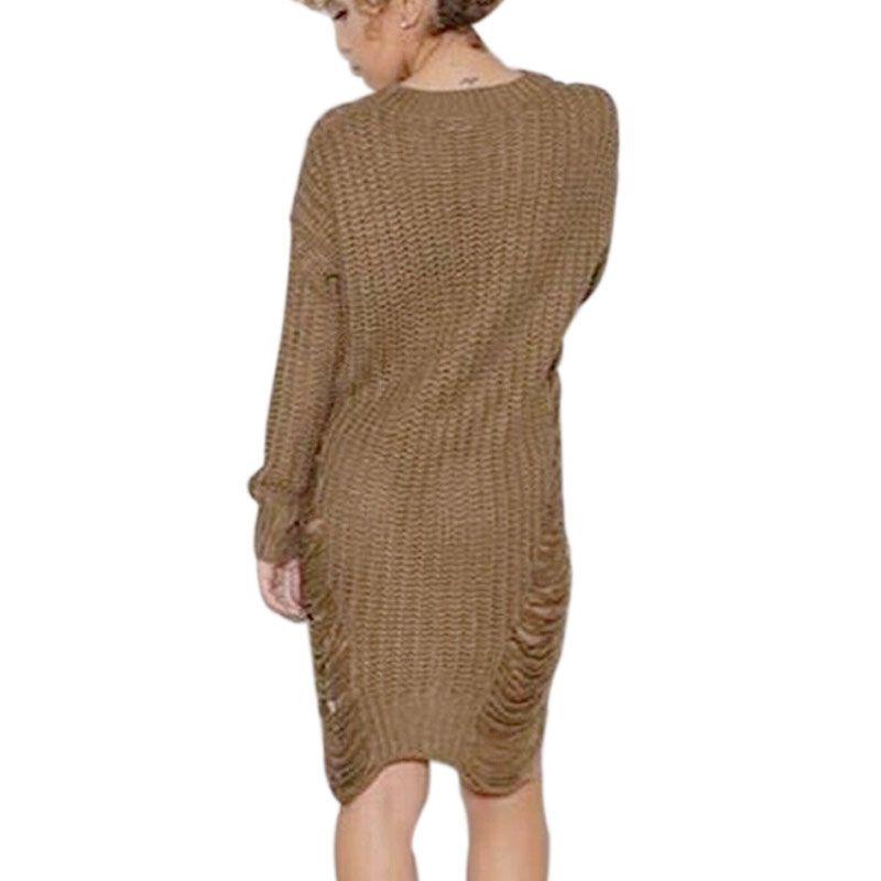 2016 Primavera Caliente de Las Mujeres Ripped Out Suéter y Suéter Tejido De Punto de los Géneros de punto de Gran Tamaño Asimétrico Sexy Vestido Estilo Americano X0080