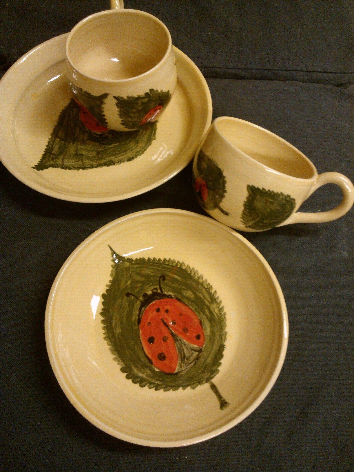 Katicás kerámia készlet / Ceramic set with ladybug