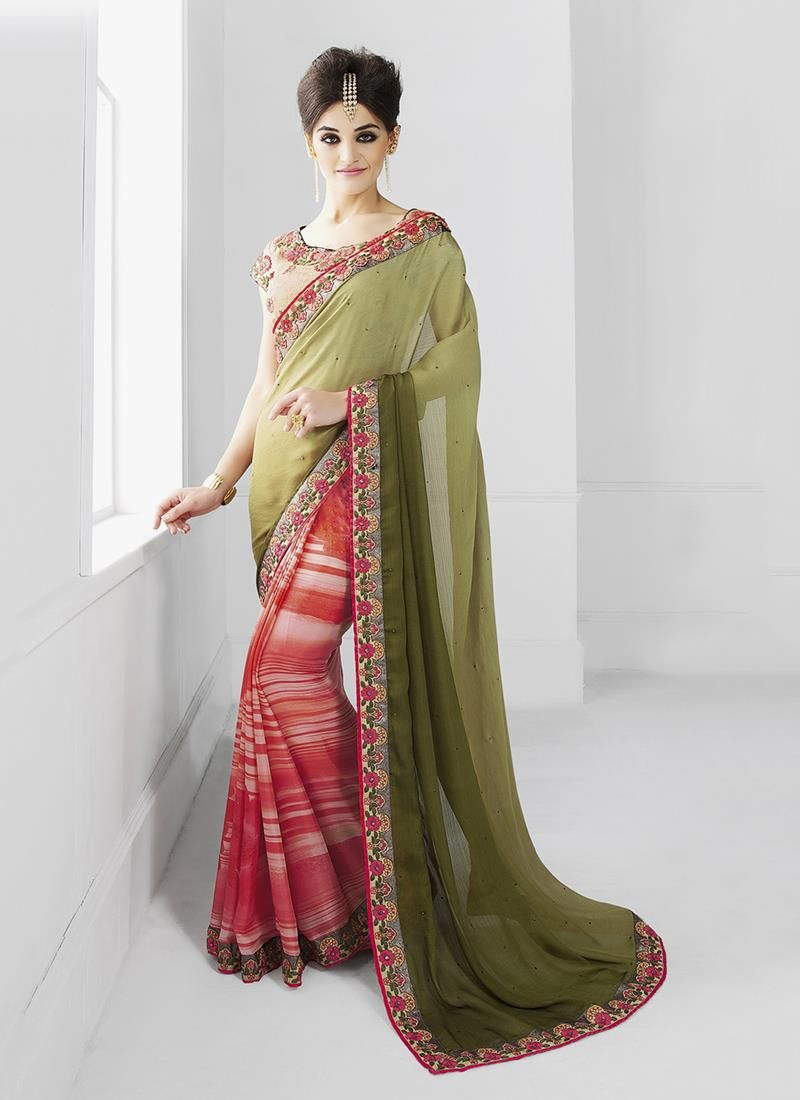 Online store for women ethnic wear for sarees. Free shipping in india & cod. Order now this faux chiffon embroidered and patch border work classic designer saree.