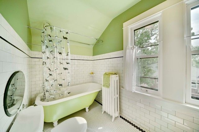Clawfoot Tub Shower Curtain Rod Bathroom Traditional With Claw Foot Green Paint Honeycomb Tile Octagon Floor