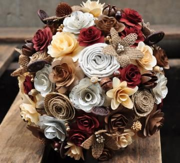 Rustic Rust Brown Burlap Fabric Wood and Music Sheet Flowers Bouquet by AccentsandPetalsEcoWeddings for $68.00