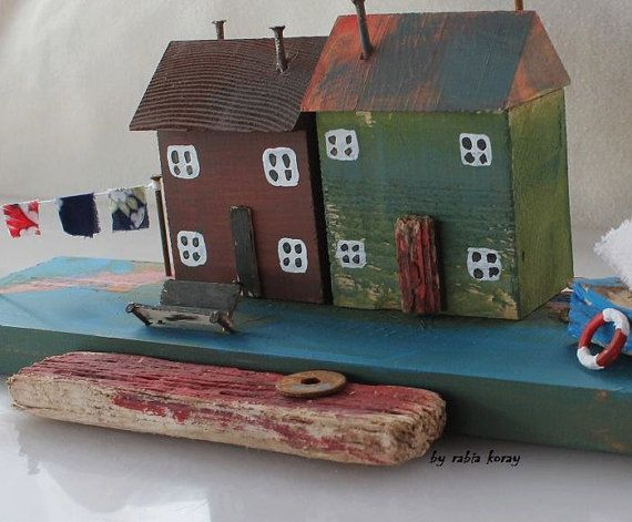 Handmade old cottage, coastal, island  Length :34 cm Width : 9 cm