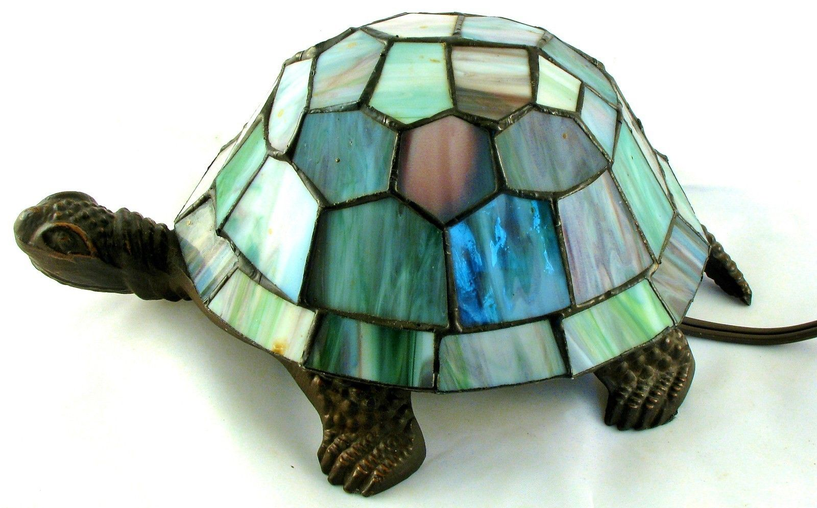Electric Mosaic Lead Glass Tiffany Style Turtle Lamp Light Night Light Animal Lamp Leaded Glass Lamp