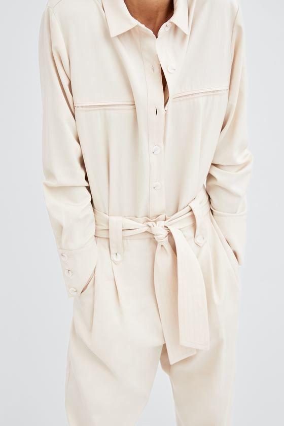 Shirt jumpsuit with belt   Combi pantalon, Mode 2018, Mode
