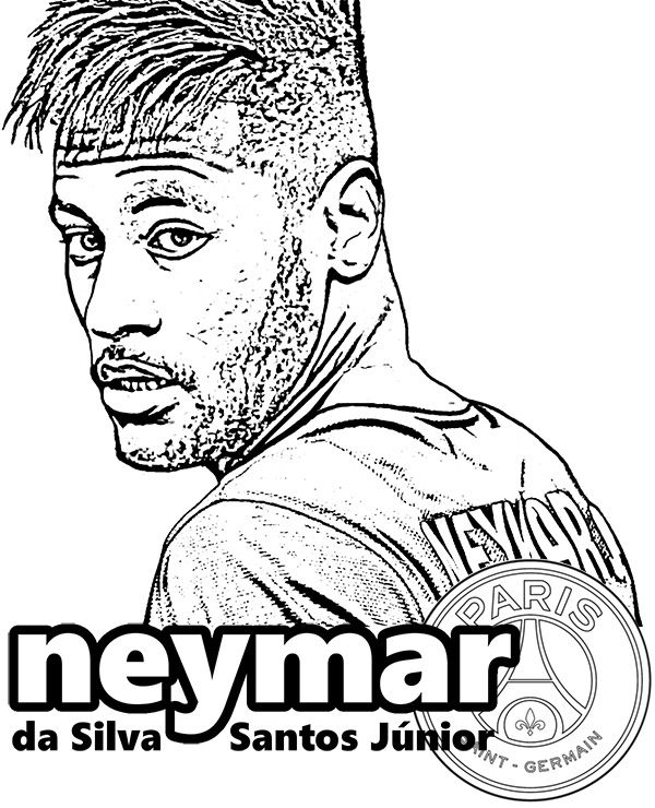 barcelona coloring pages to color | Neymar da Silva Santos - Paris Saint Germain football ...