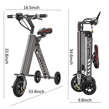 Freego 3 Wheel Folding Electric Bike Aircraft Aluminum Alloy Foldable Bicycle 25 Lbs Ultra Light With Lcd Display Gray