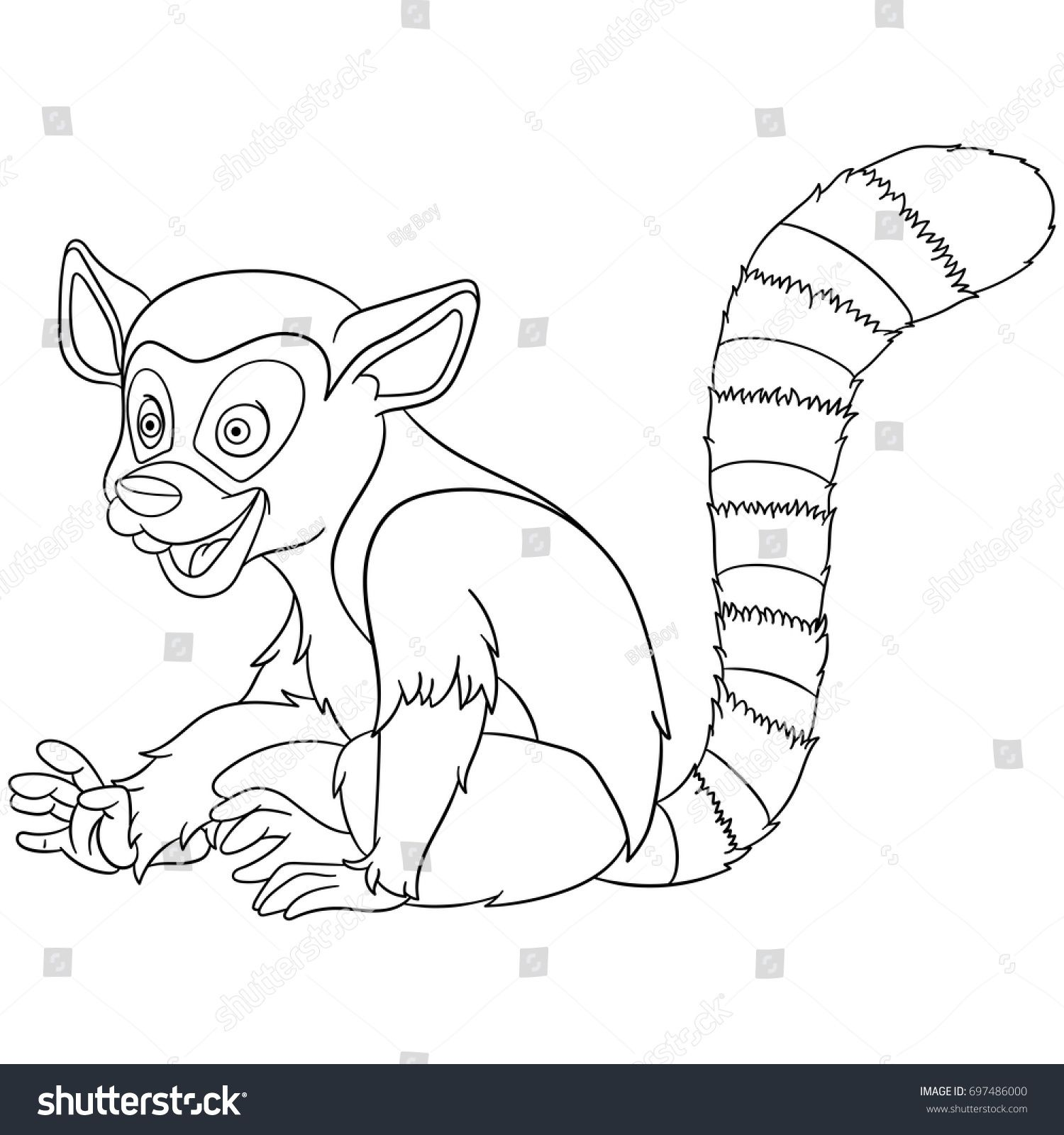 Coloring Page Of Cartoon Lemur Animal Book Design For Kids And Children