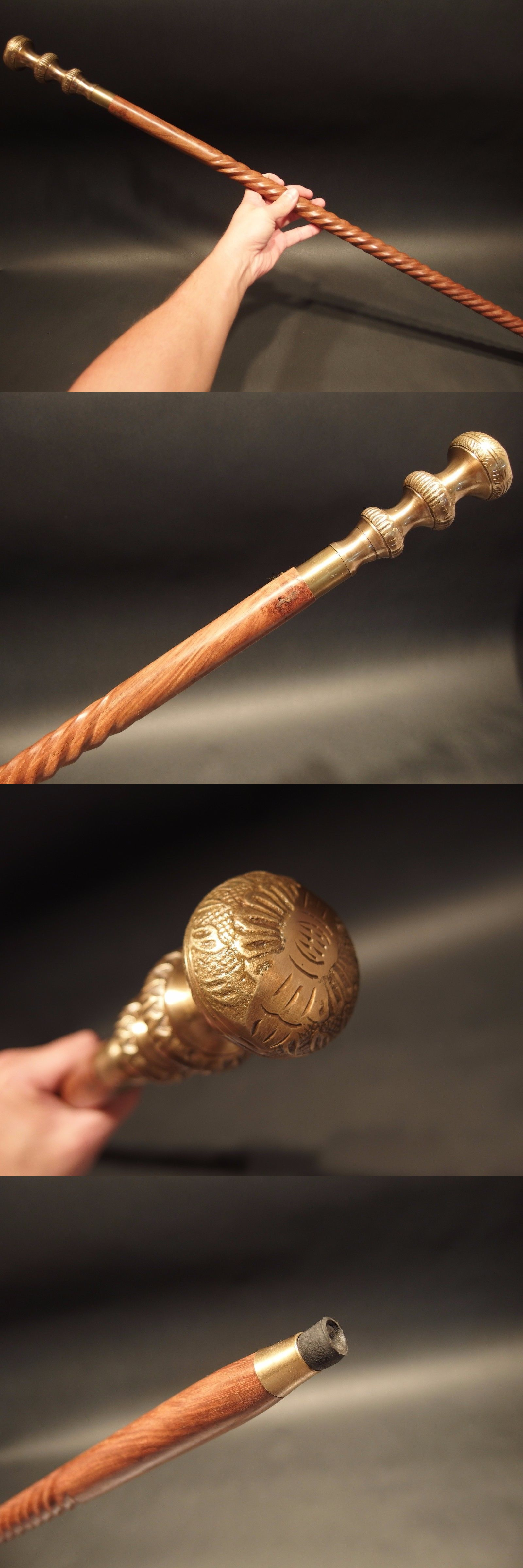 Maritime Antique Style Brass Wood Victorian Walking Stick Cane Spiral Carved New