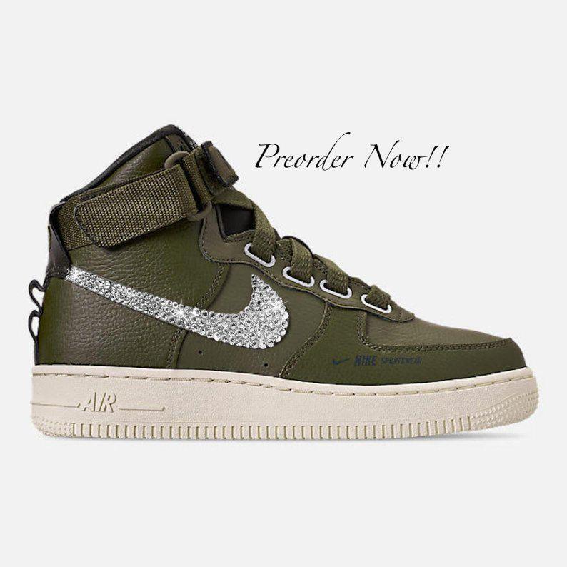 en soldes 3dc41 5ad5d Swarovski Women's Nike Air Force 1 High Olive Green Sneakers ...
