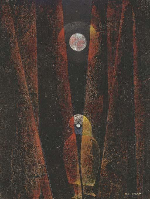 Max Ernst - Thrilling` en el luz de la luna.